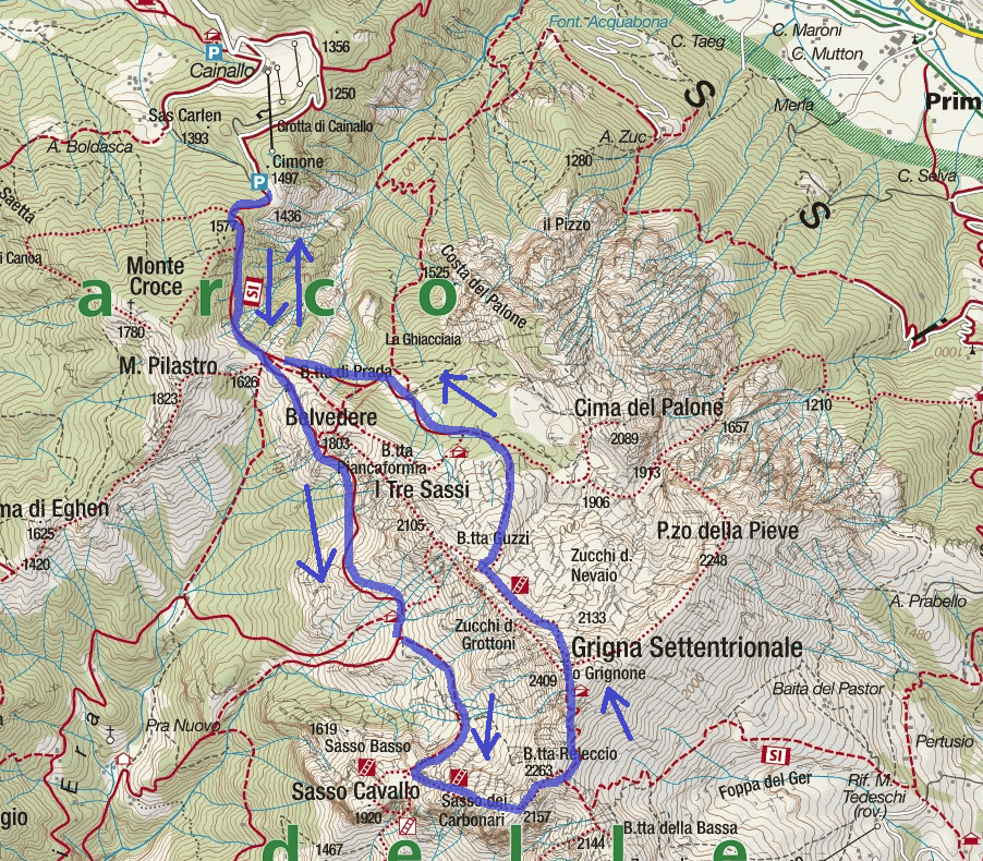CAI Ferrata Map Mandello Sasso Carbonari Northern Grigna Itinerary