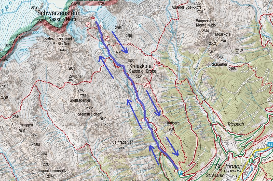 Cartina Ferrata Camino Ghiacciaio Sasso Nero Itinerario