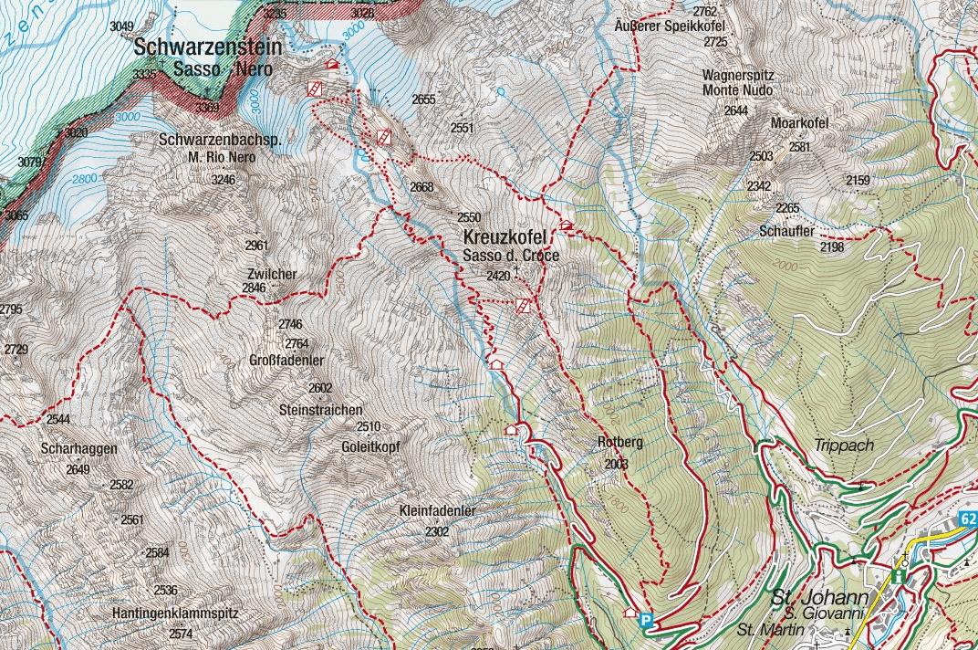 Cartina Ferrata Camino Ghiacciaio Sasso Nero