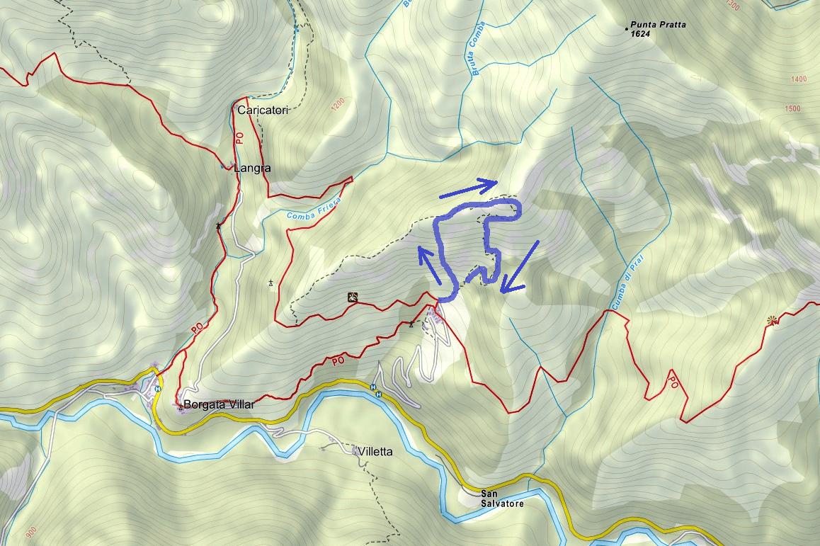 Cartina Ferrata Camoglieres Itinerario