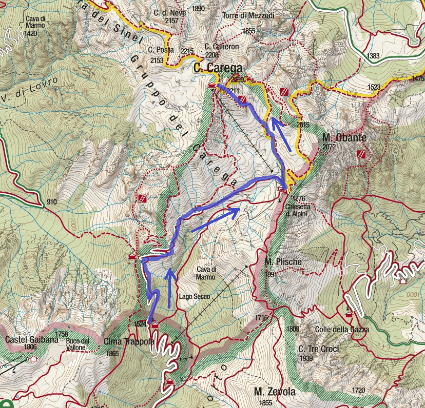 Ferrata Campalani Route Map