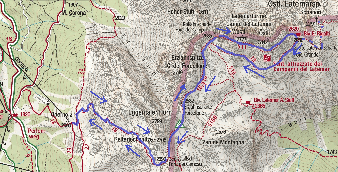 Ferrata Campanili map of the Latemar Route