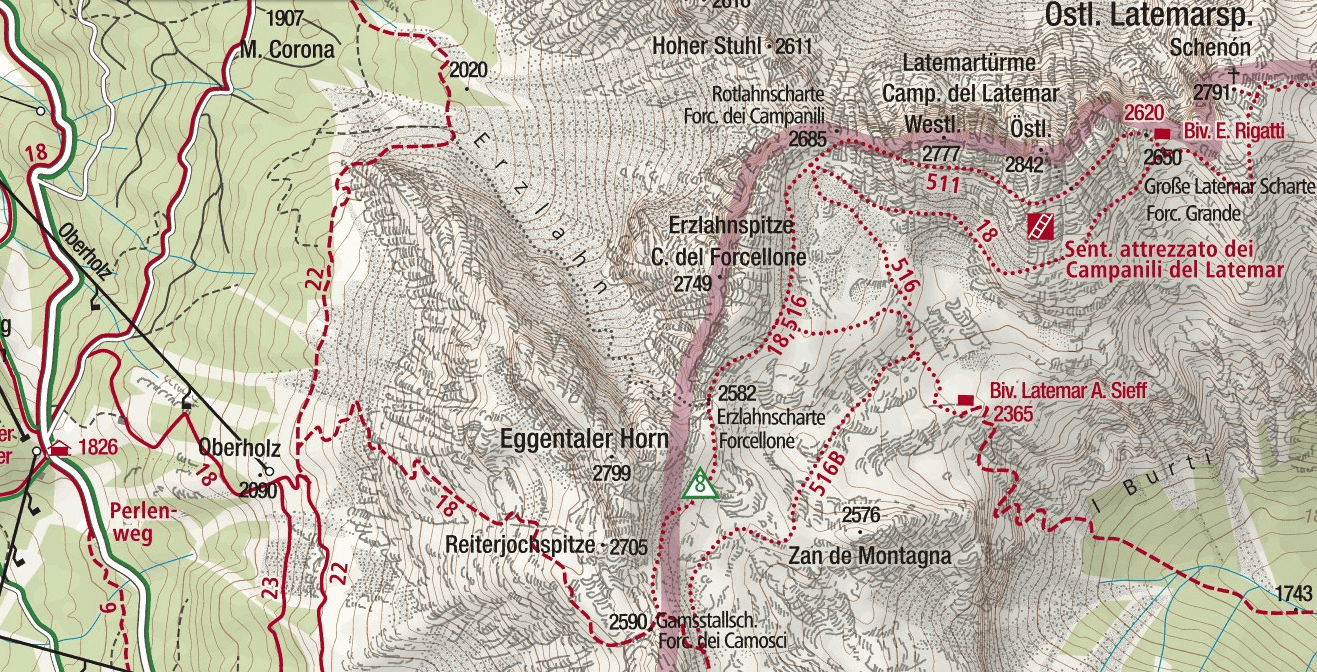 Ferrata Campanili del Latemar map