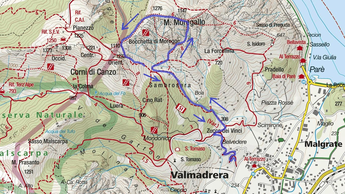 Cartina Ferrata Canalone Belasa Itinerario