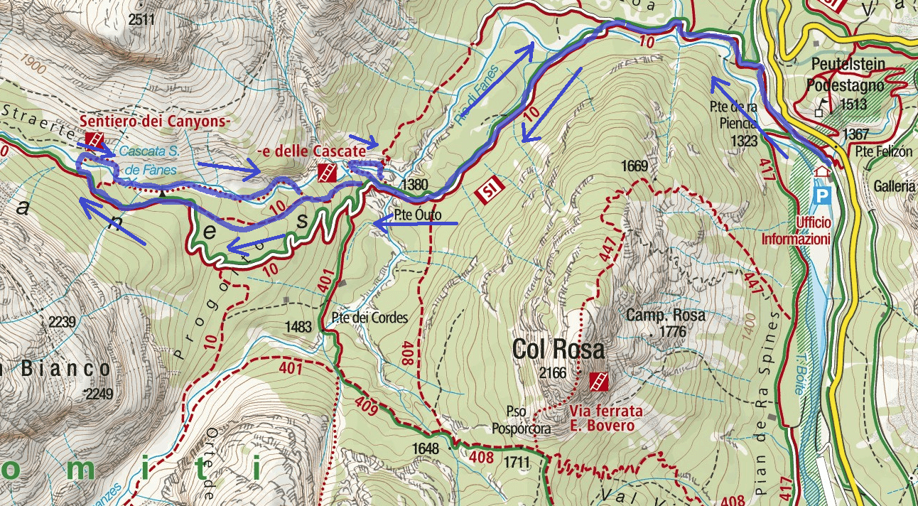 Ferrata map of Fanes Waterfalls Itinerary