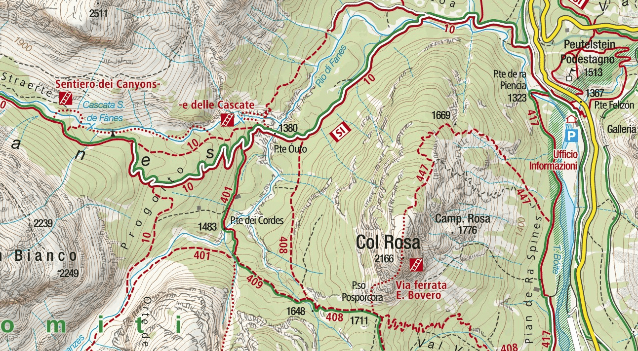 Fanes Falls Ferrata Map