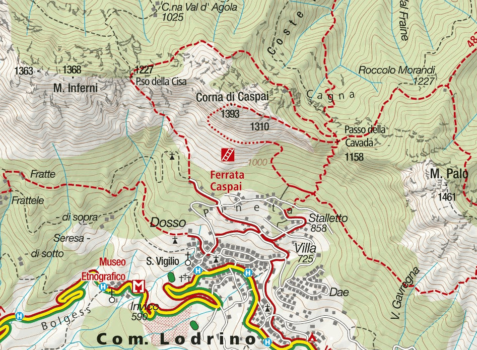Caspai Ferrata Map