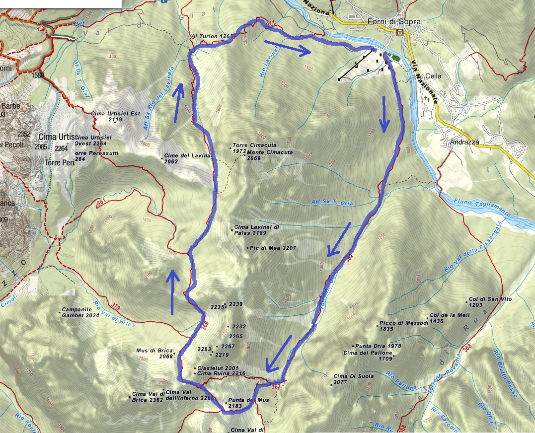 Cassiopea Ferrata Route Map