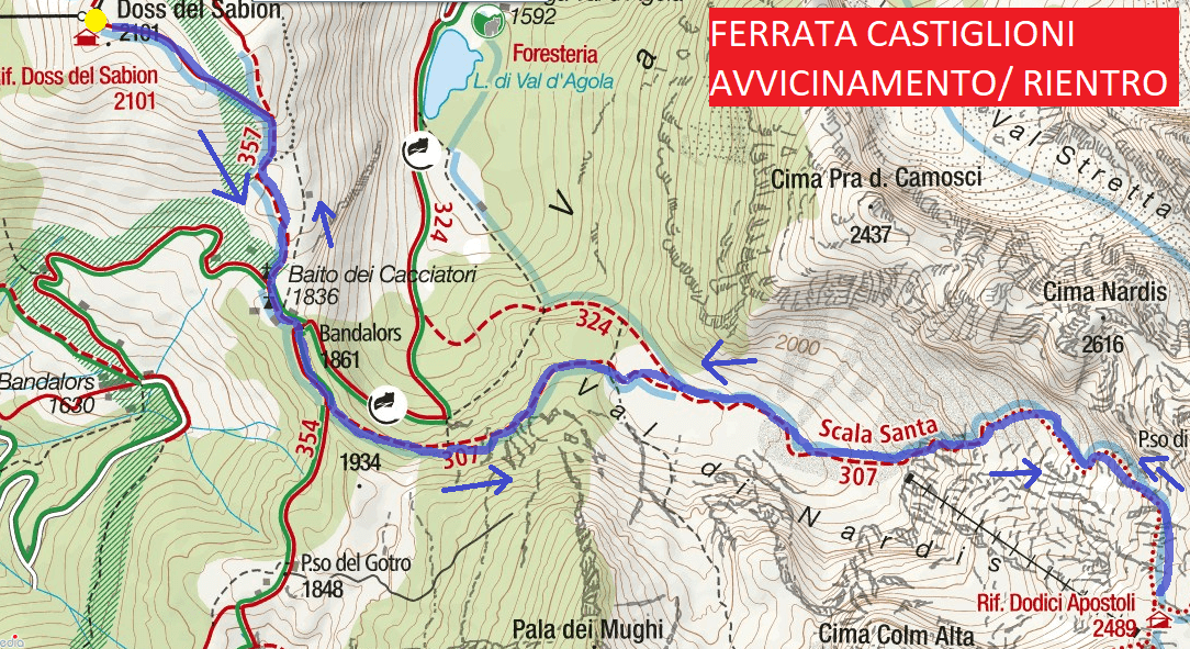 Castiglioni Ferrata Map Approaching and Returning