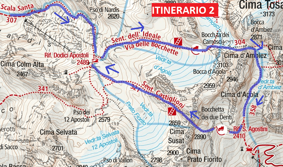 Ferrata Castiglioni Route 2 map