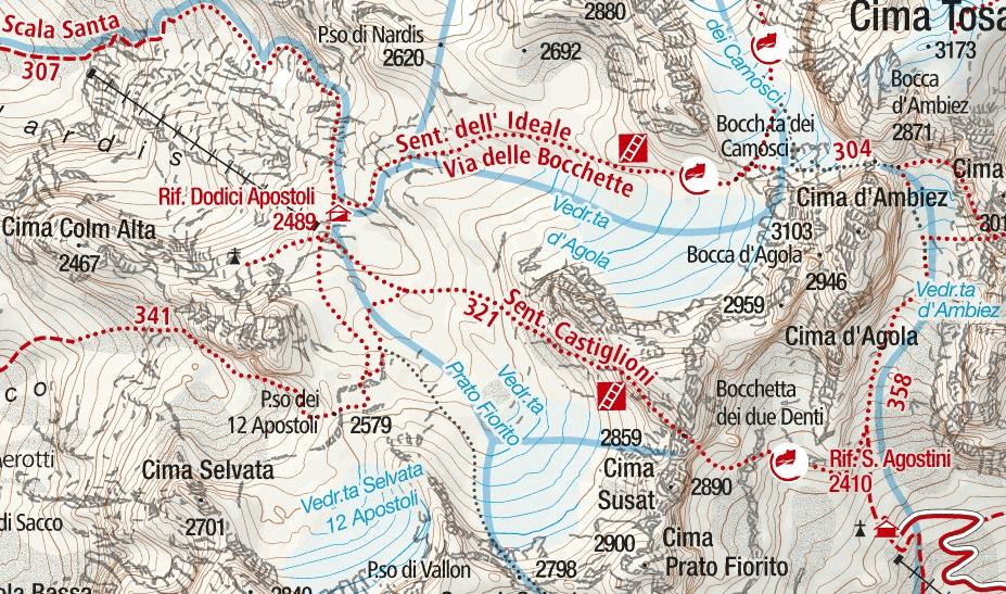 Castiglioni Ferrata Map