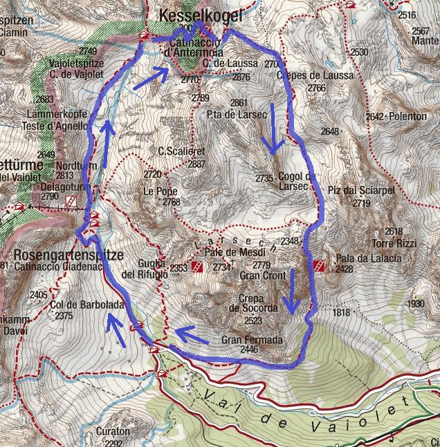 Ferrata Map Catinaccio Antermoia Route Descent 1