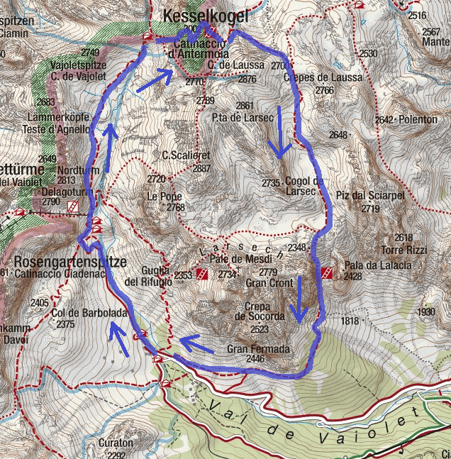 Cartina Ferrata Catinaccio Antermoia Itinerario Discesa 1