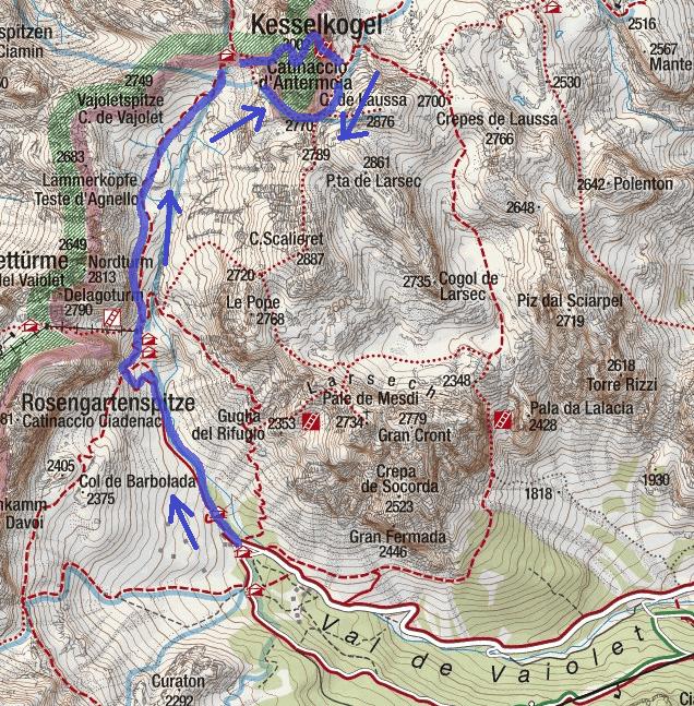 Ferrata Map Catinaccio Antermoia Itinerary Descent 2