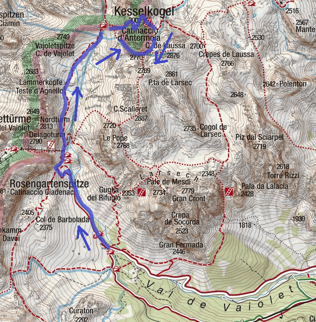Cartina Ferrata Catinaccio Antermoia Itinerario Discesa 2