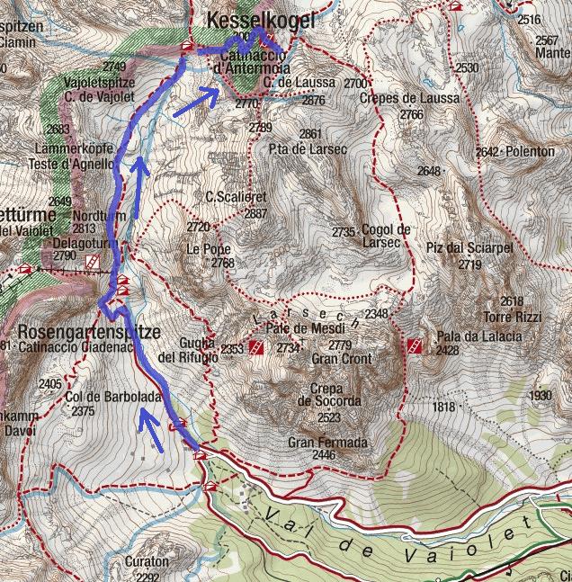 Ferrata Map Catinaccio Antermoia Itinerary Ascent