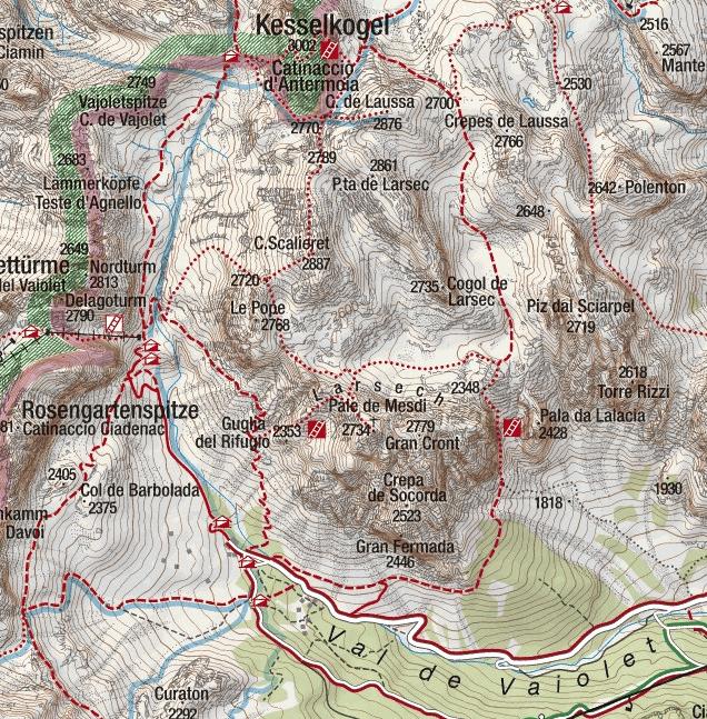 Ferrata Catinaccio Antermoia Map