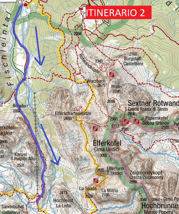 Ferrata Map Ledge Gabriella Itinerary 2 Approach