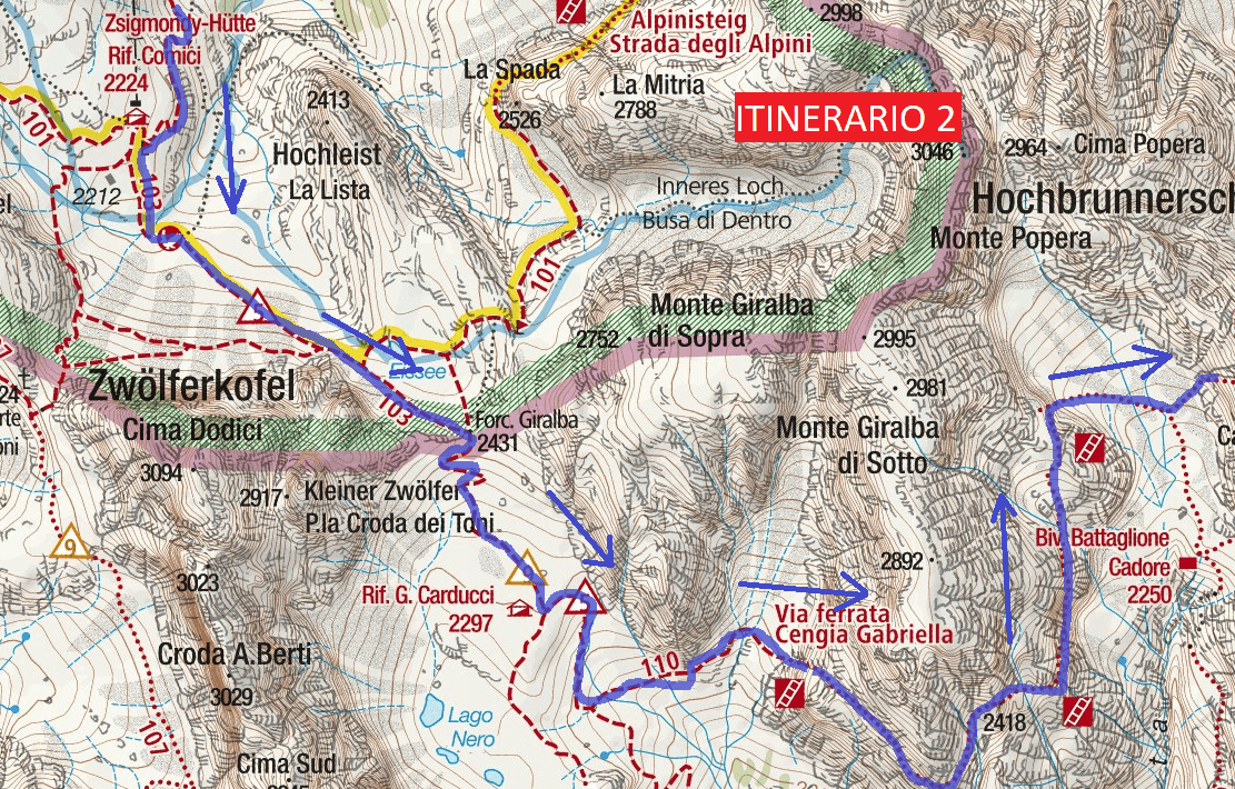 Ferrata Map Ledge Gabriella Itinerary 2 Detail