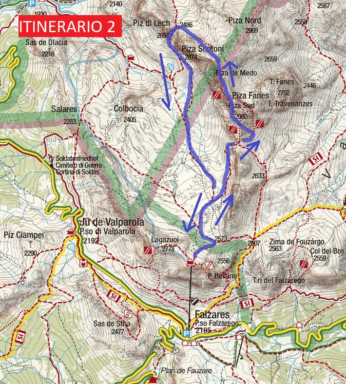 Cartina Ferrata Cengia Veronesi Itinerary 2