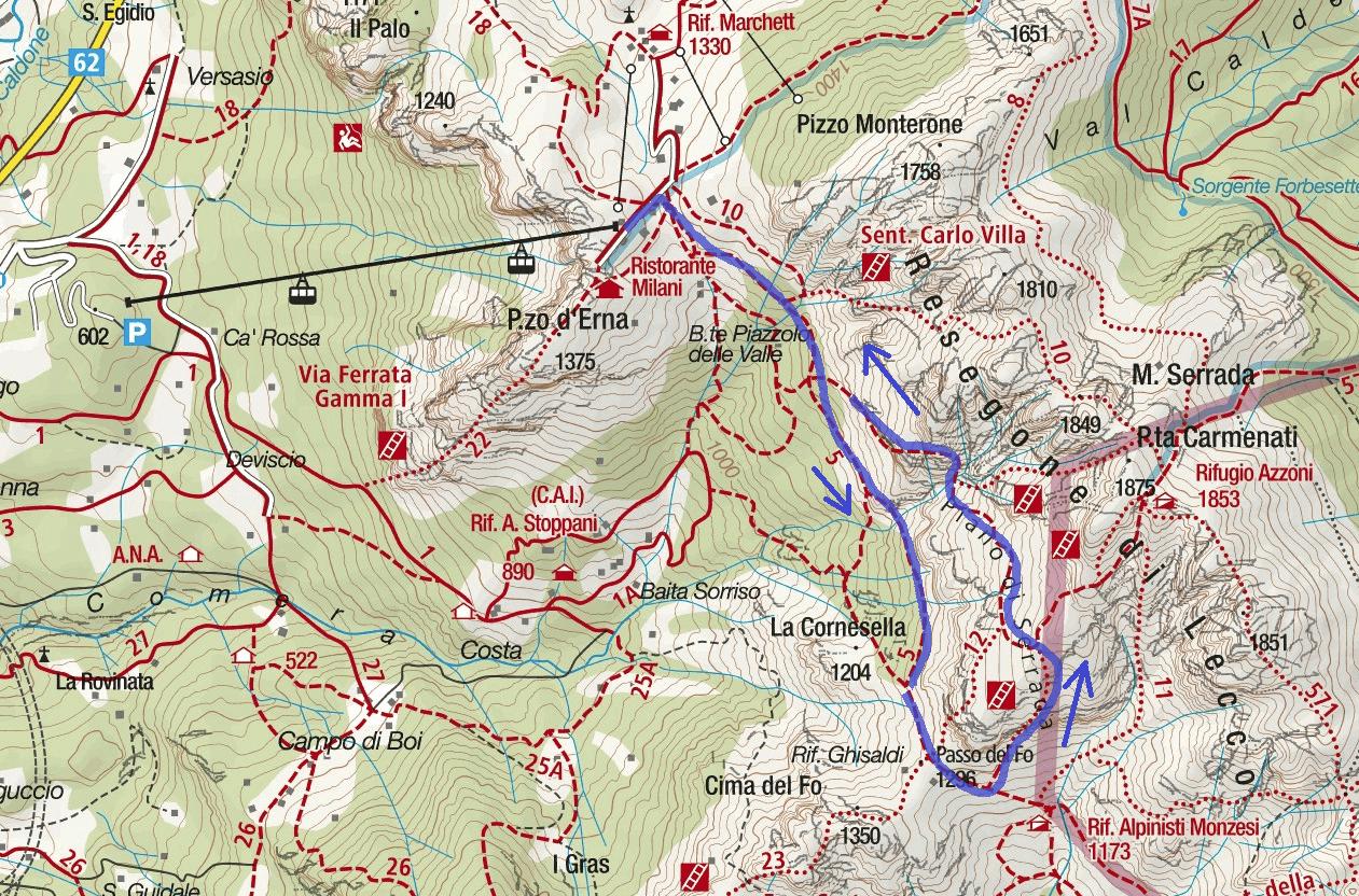 Centenario Resegone Ferrata Map Itinerary