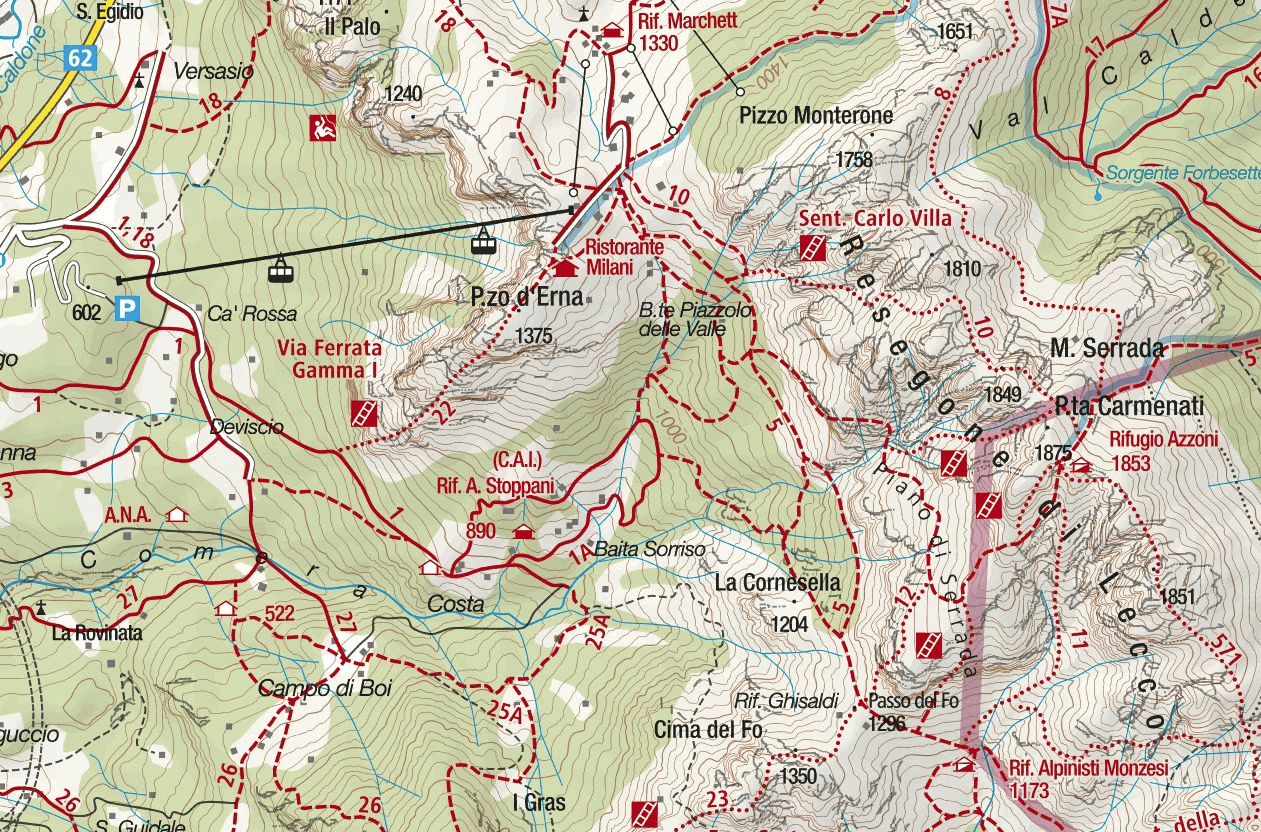 Centenary Resegone Ferrata Map