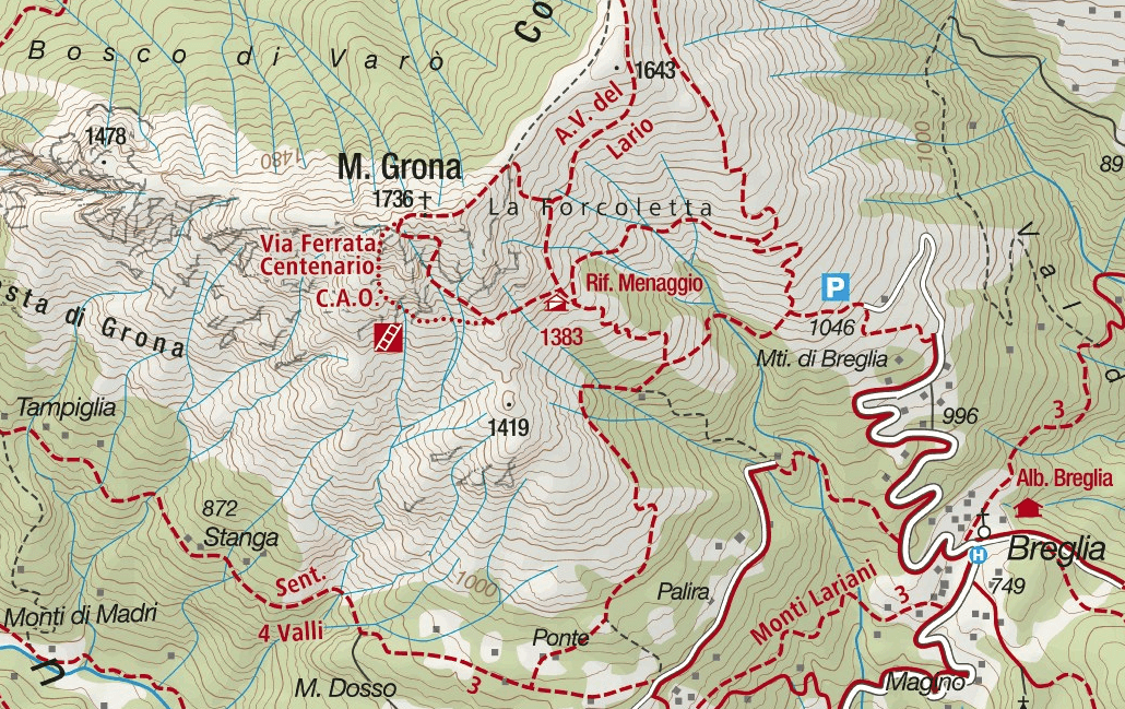 Ferrata Centernario CAO Como Grona Map