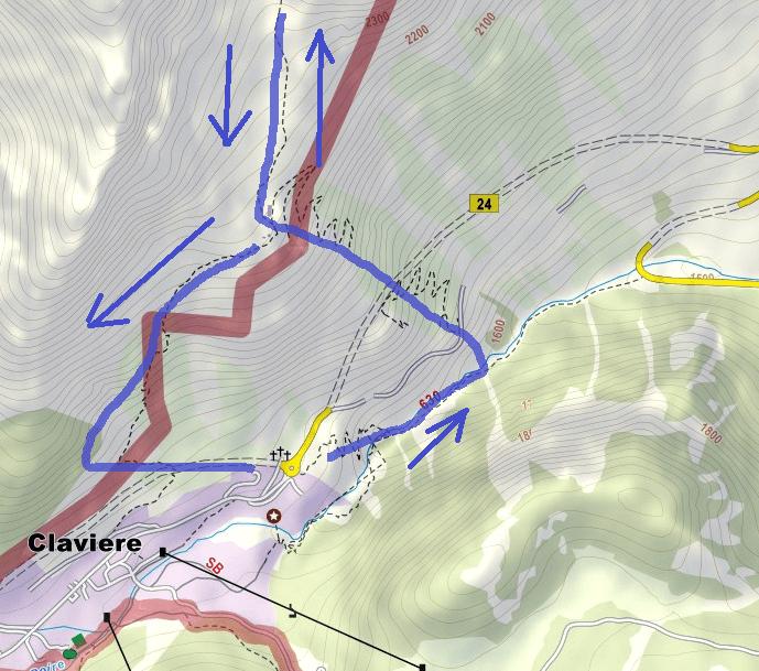 Cartina Ferrata Chaberton Itinerario Dettaglio1