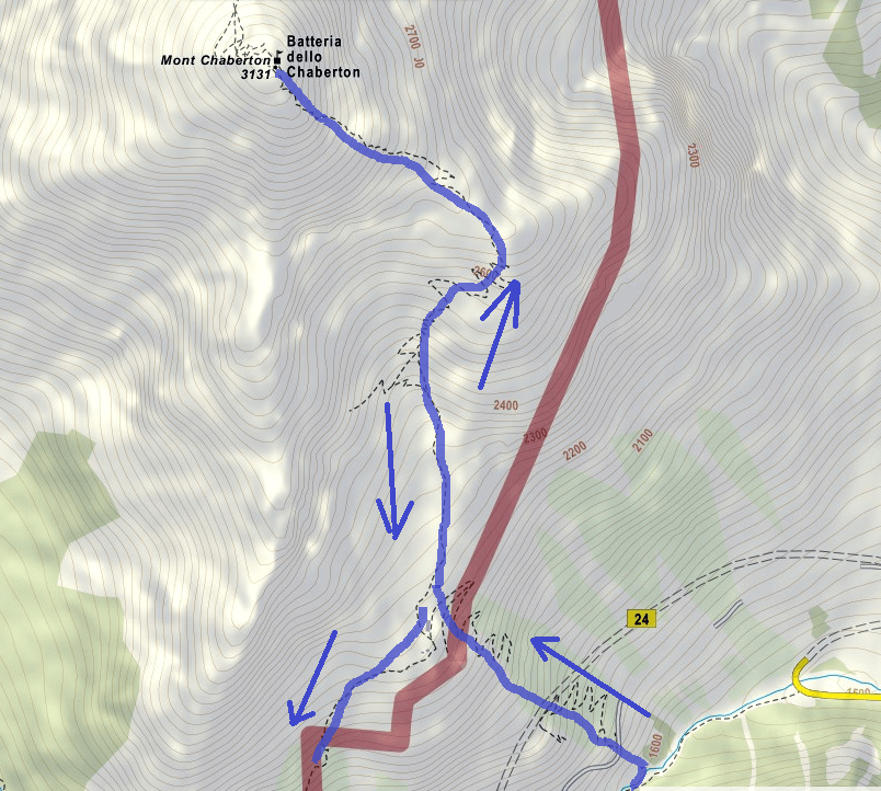 Chaberton Ferrata Map Itinerary Detail2