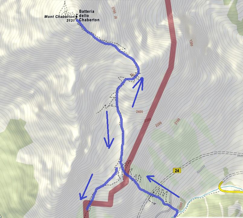 Cartina Ferrata Chaberton Itinerario Dettaglio2
