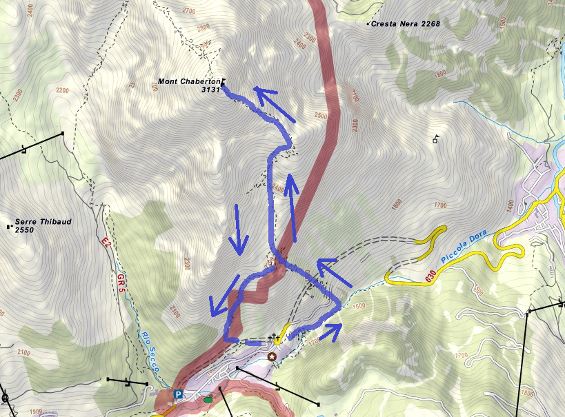 Chaberton Ferrata Map Itinerary