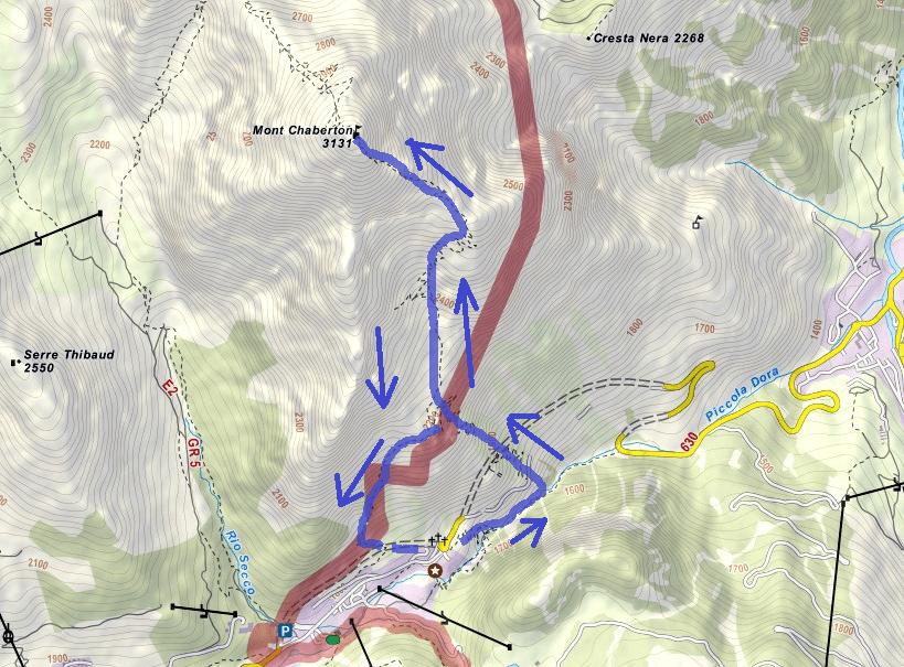 Cartina Ferrata Chaberton Itinerario