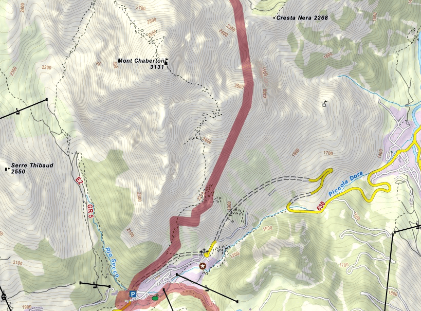 Chaberton Ferrata Map