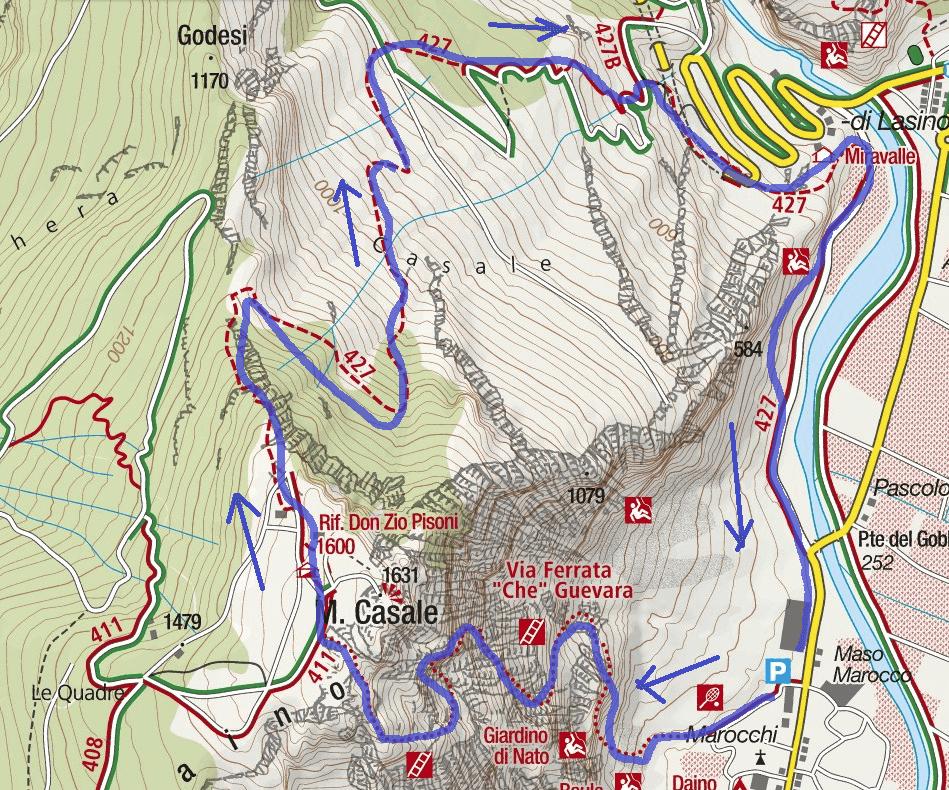 Cartina Ferrata Che Guevara Monte Casale Itinerario 1