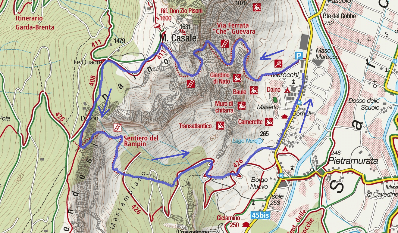 Ferrata Map Che Guevara Monte Casale Itinerary 2
