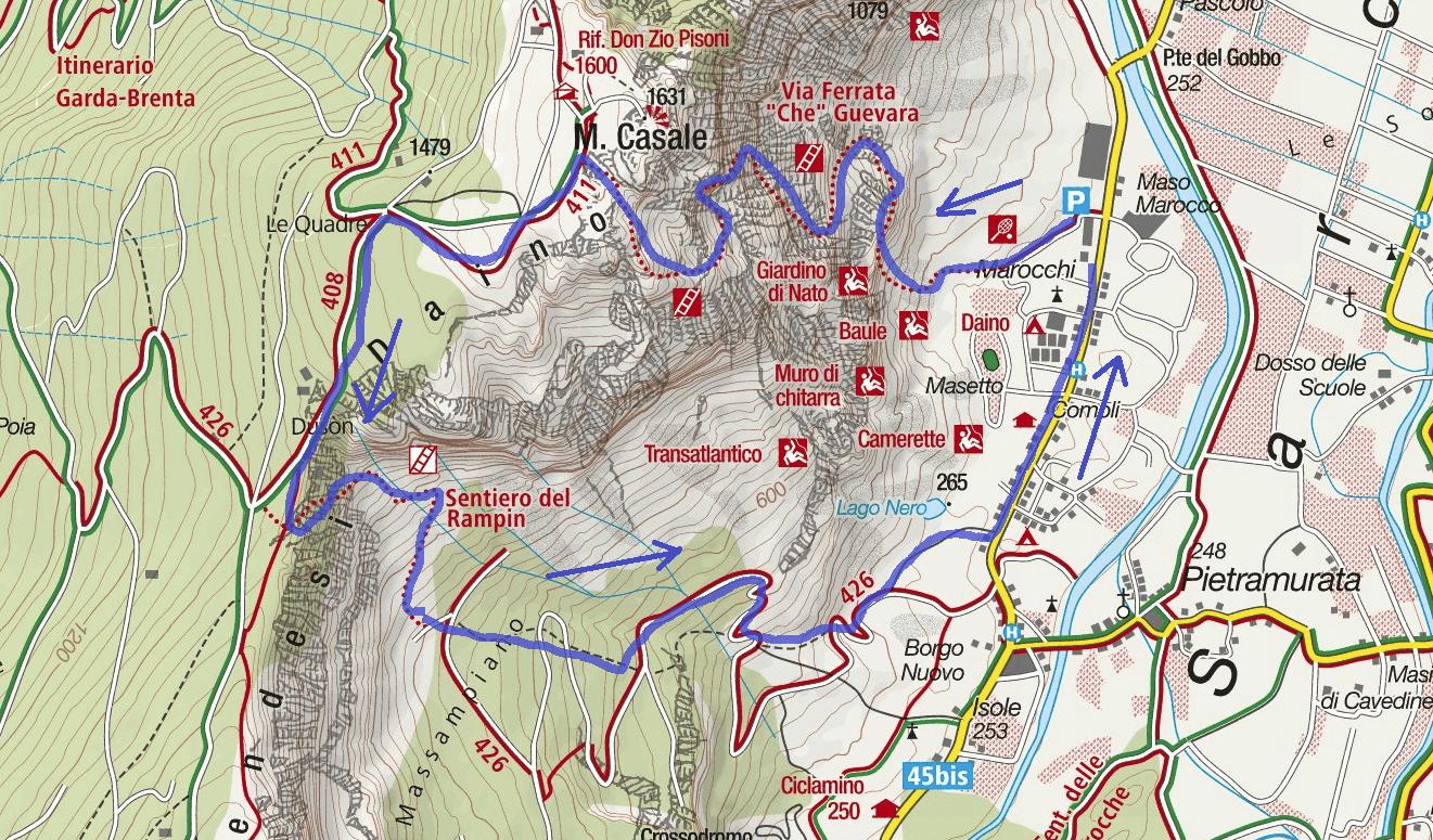 Cartina Ferrata Che Guevara Monte Casale Itinerario 2