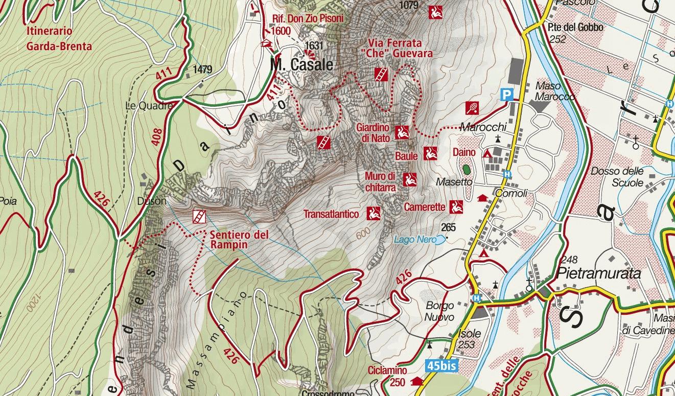 Ferrata Map Che Guevara Monte Casale