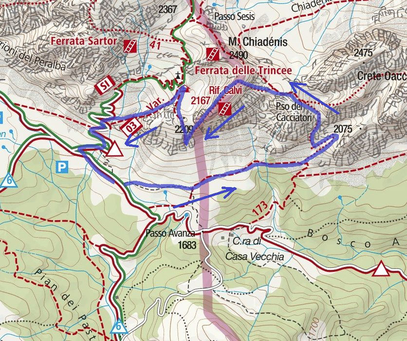 Chiadenis Ferrata Map Itinerary