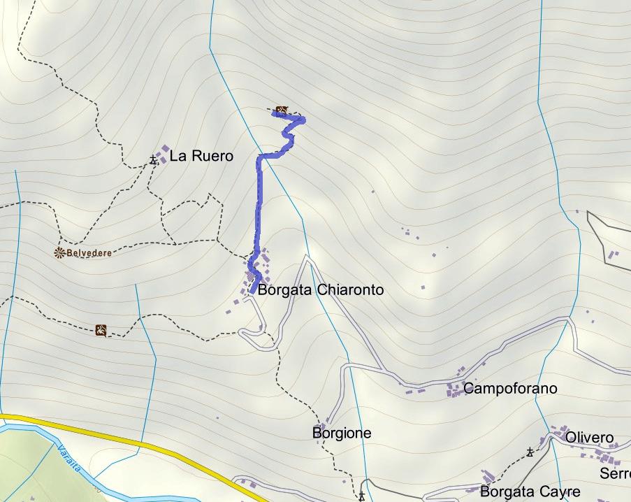 Cartina Ferrata Chiaronto Itinerario
