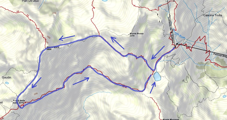 Ferrata map Ciao Miki Monte Mars Itinerary