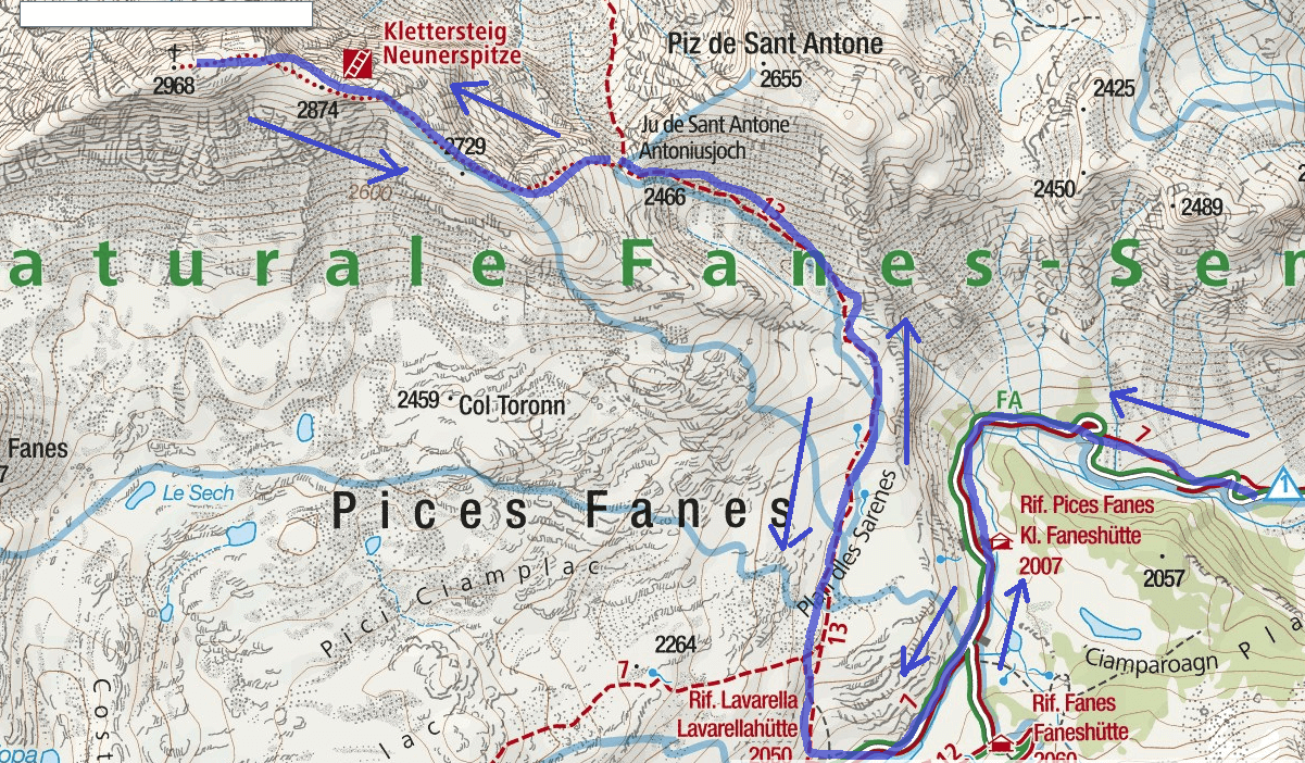 Ferrata Map Cima Nove Itinerary Detail 2