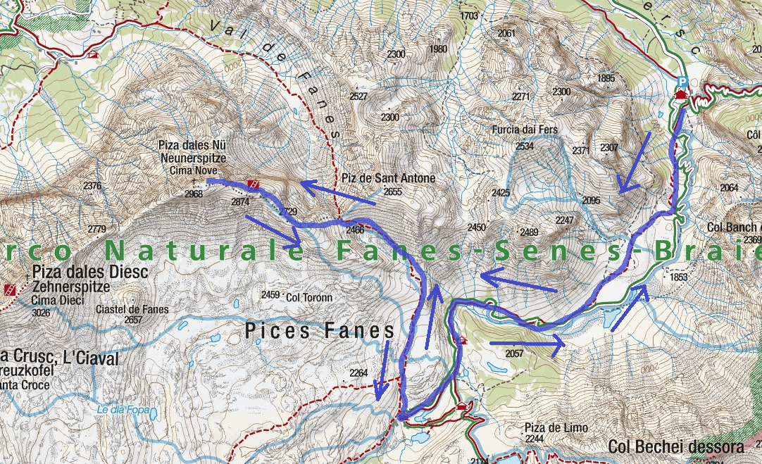 Ferrata Cima Nove Route Map