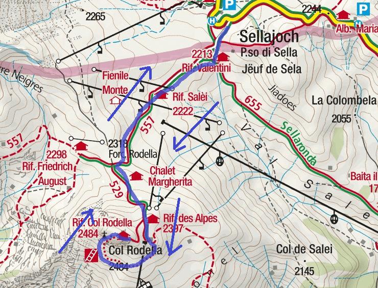 Col Rodella Route Ferrata Map
