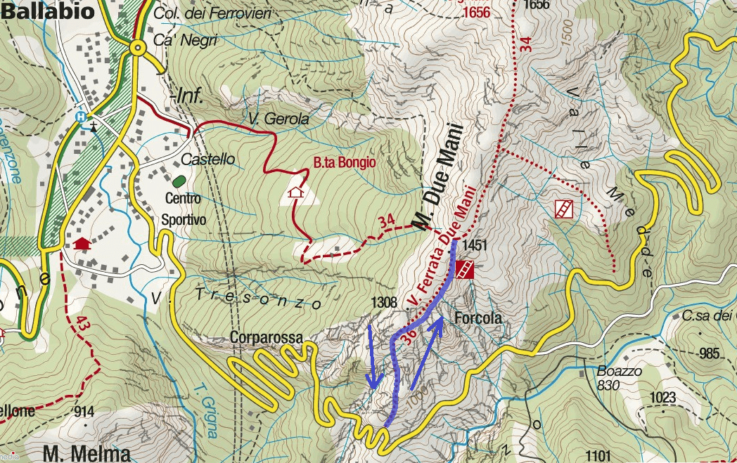 Ferrata Contessi Monte Due Mani Itinerary Map