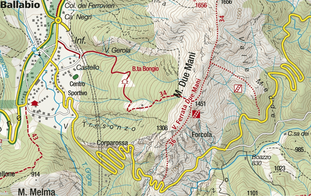 Contessi Monte Due Mani Ferrata Map