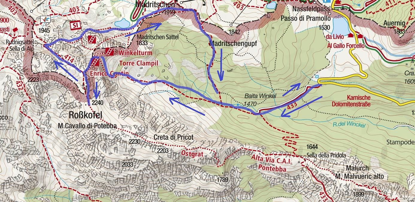 Cartina Ferrata Contin Itinerario 2