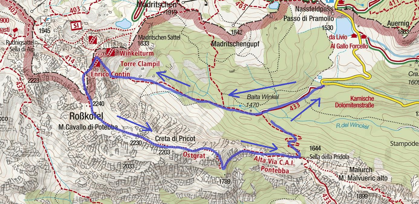 Cartina Ferrata Contin Itinerario