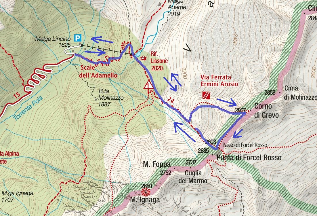 Ferrata Corno del Grevo Route Map