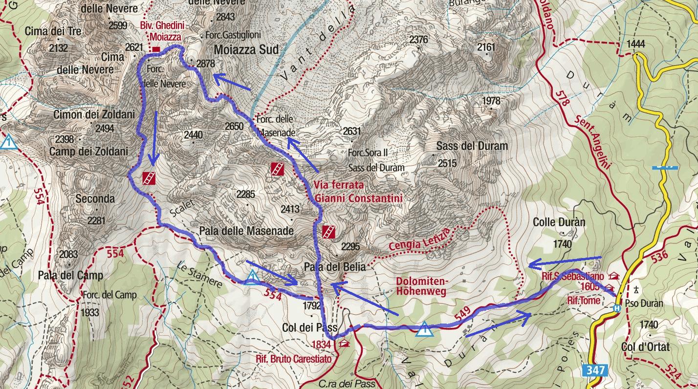 Cartina Ferrata Costantini Moiazza Itinerario