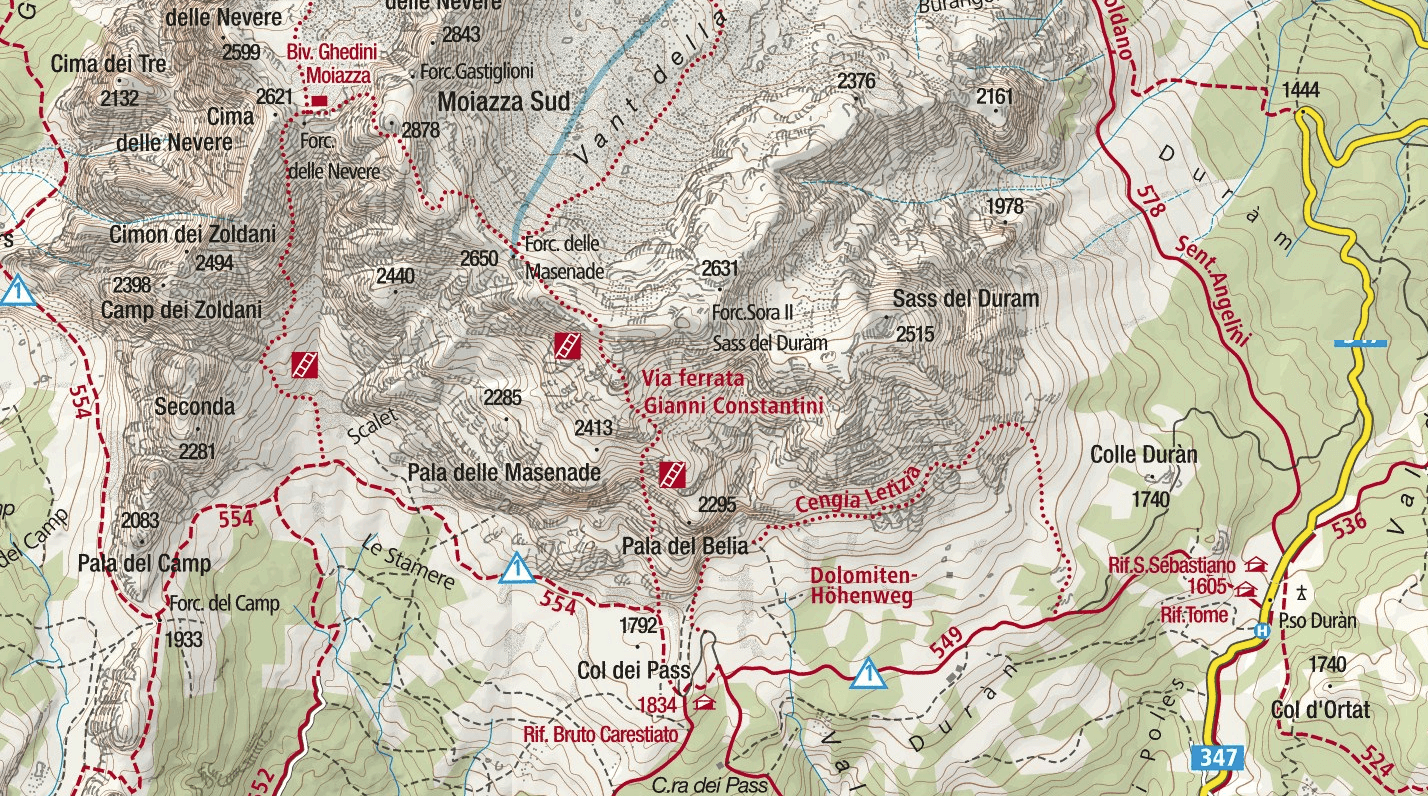 Costantini Moiazza Ferrata Map